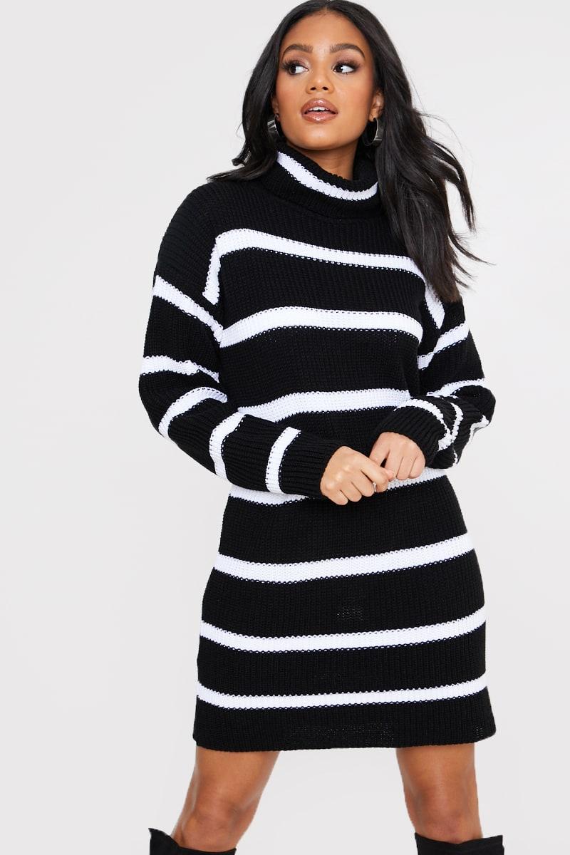 BLACK STRIPE HIGH NECK JUMPER DRESS