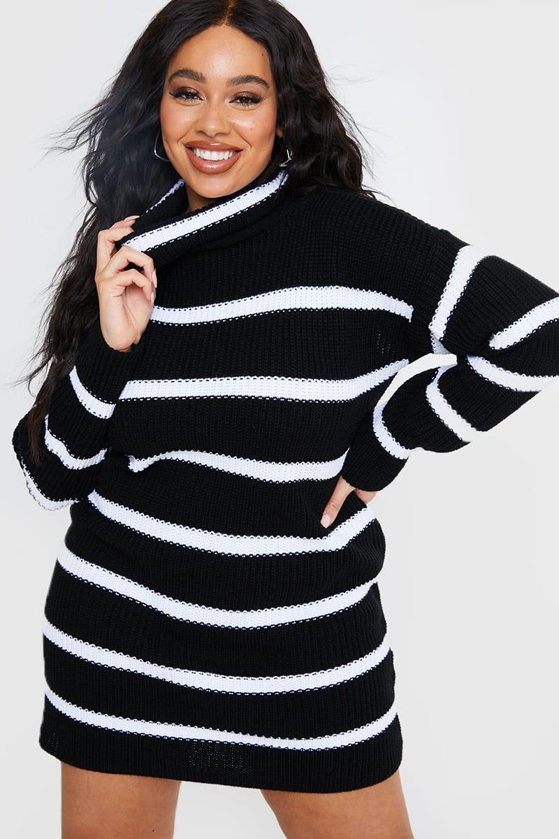 CURVE BLACK STRIPE HIGH NECK JUMPER DRESS