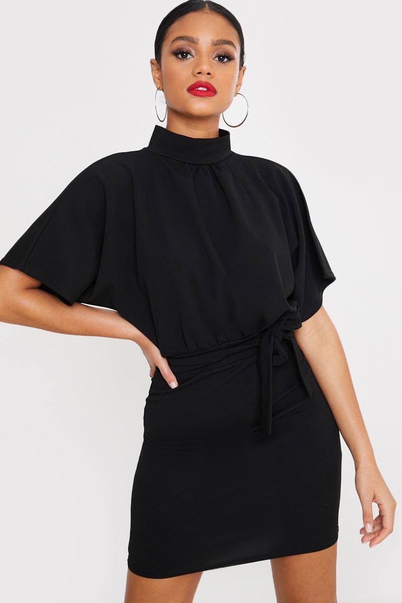 BLACK HIGH NECK TIE WAIST DRESS