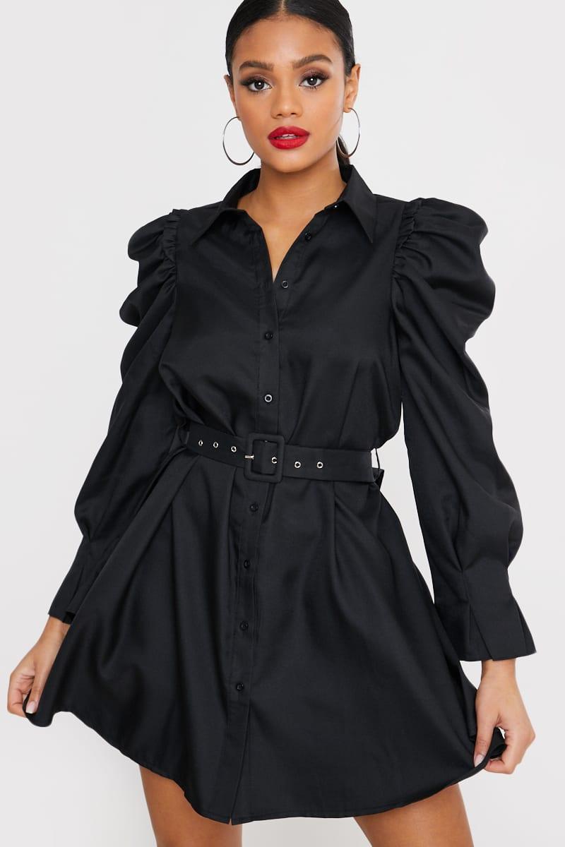 BLACK PUFF SLEEVE BELTED MINI SHIRT DRESS