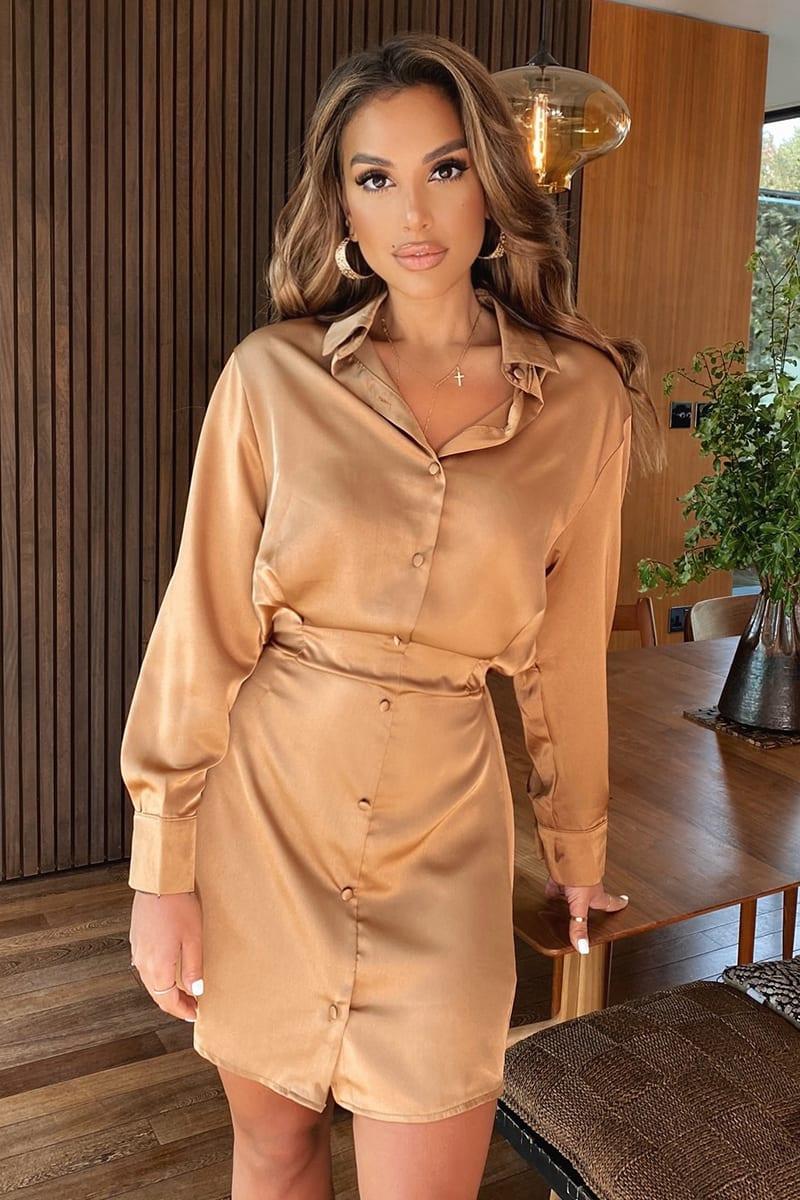 RUST SATIN BUTTON FRONT SHIRT DRESS
