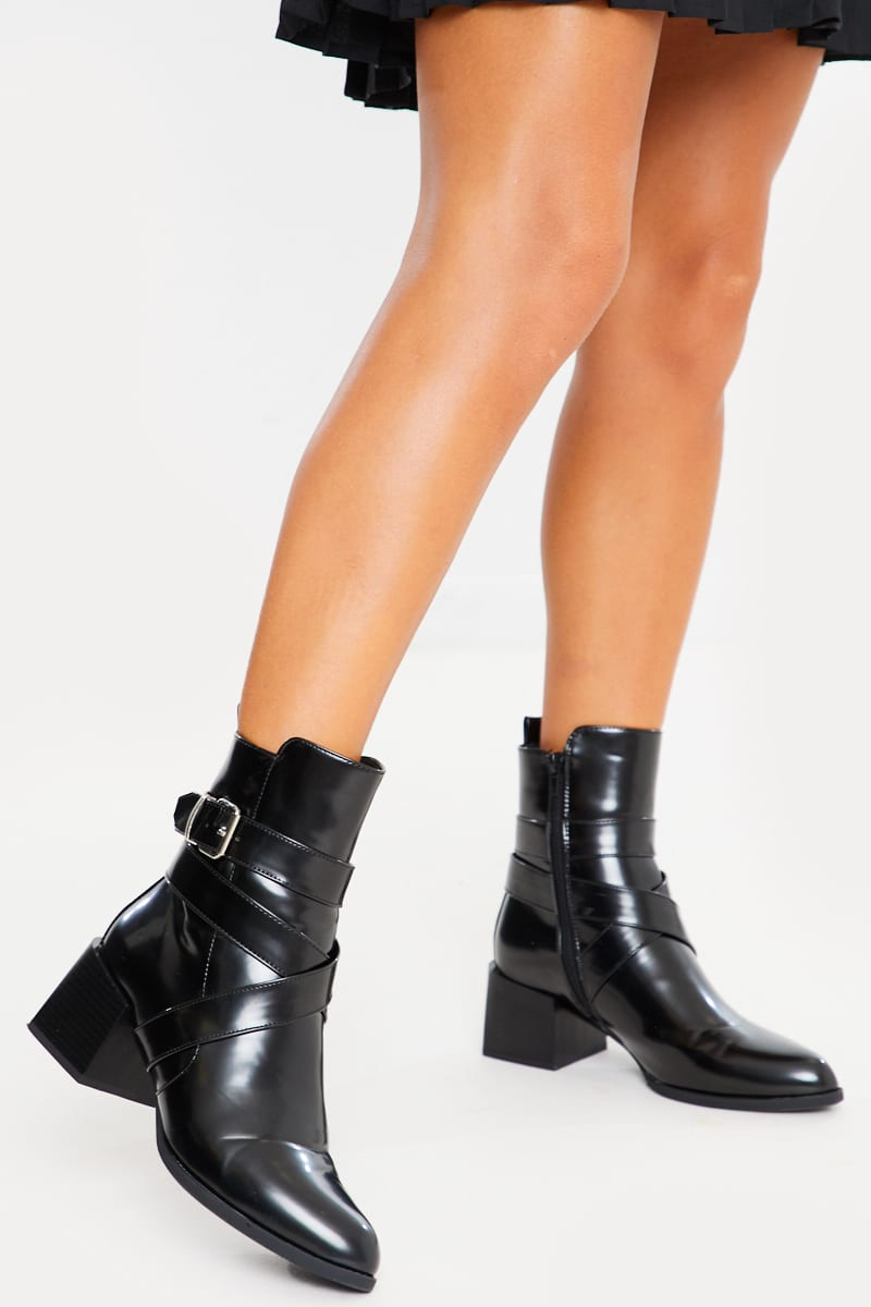 black pu strap & buckle detail ankle boots