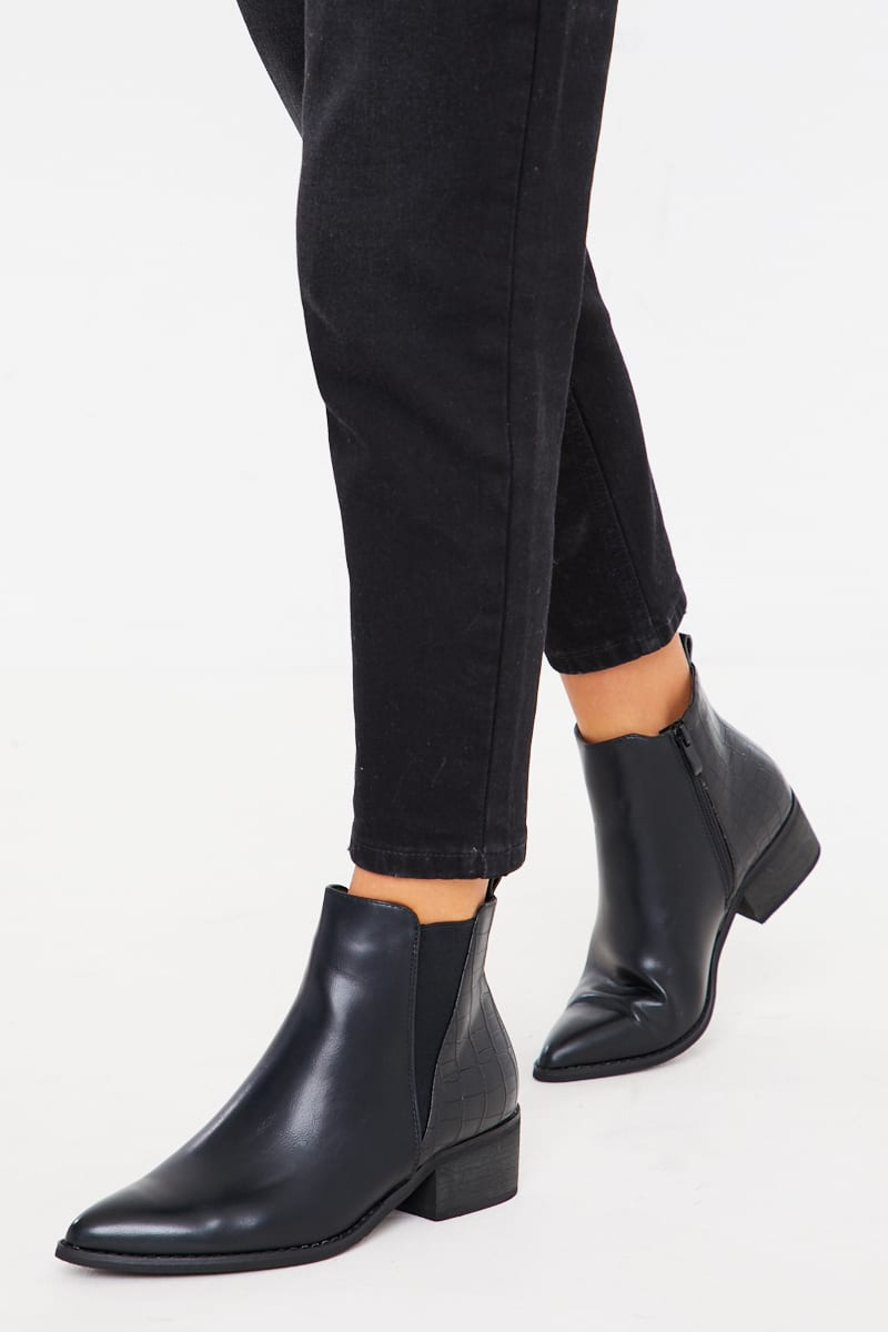 BLACK PU POINTED ANKLE BOOTS