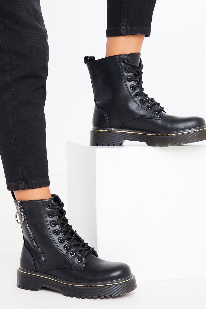 Black Patent Zip Biker Boots | In The