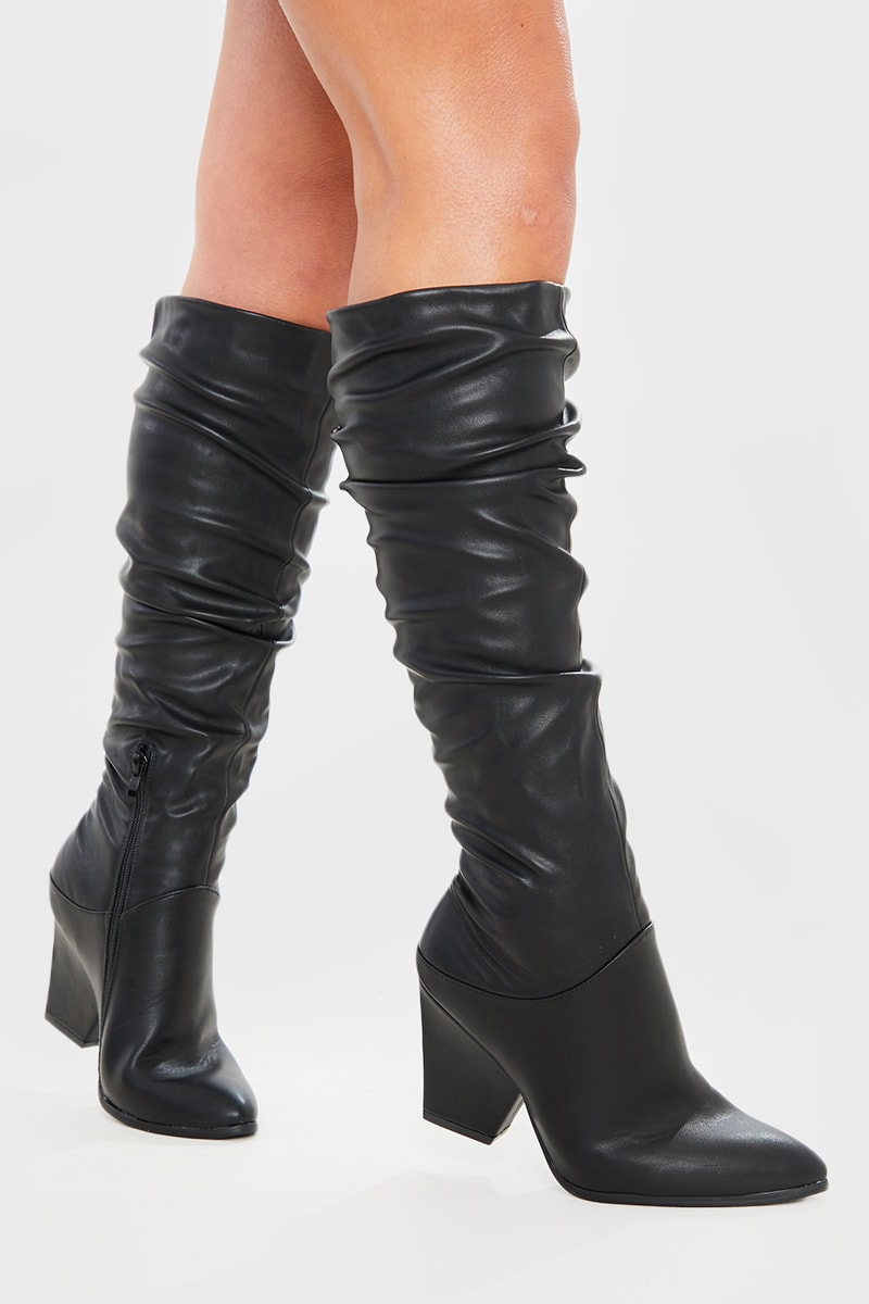 BLACK PU RUCHED POINTED KNEE HIGH BOOTS