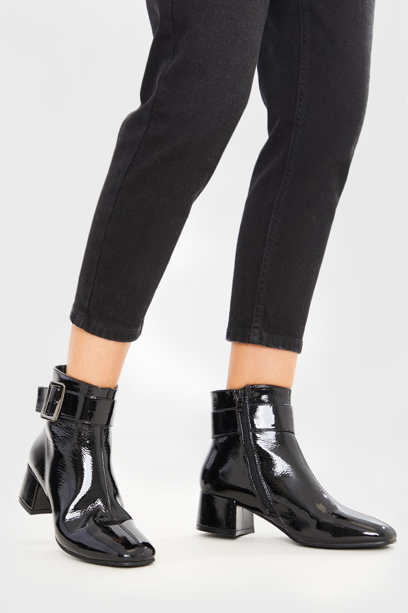 BLACK PATENT SQUARE FRONT ANKLE BOOTS