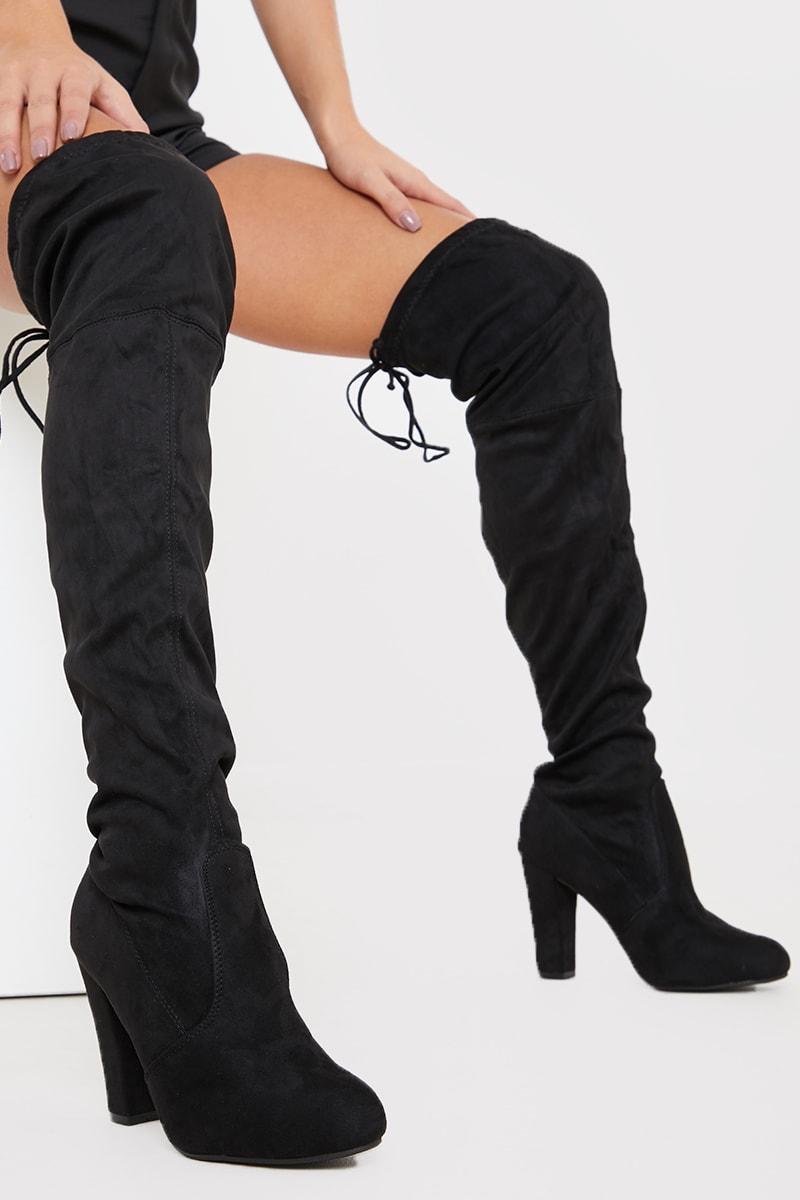 Knee Round Toe Heeled Boots
