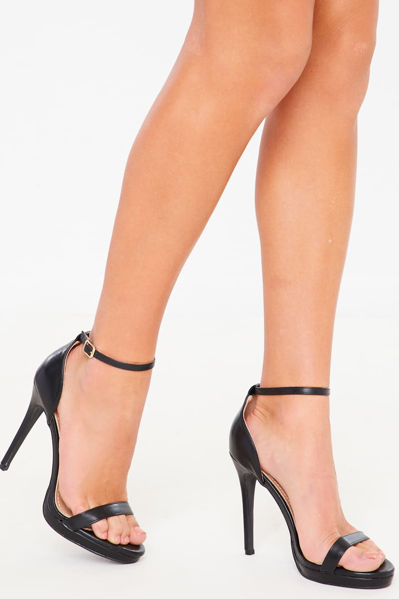 BLACK PU BARELY THERE HIGH HEELS