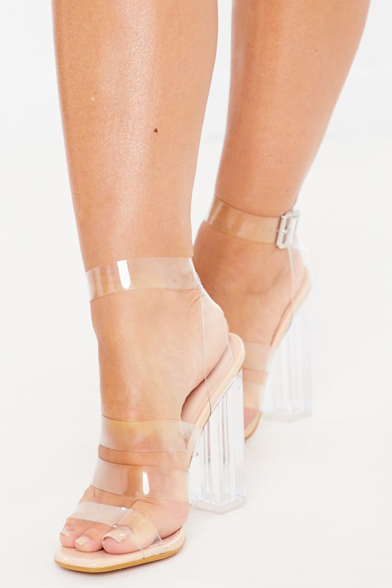 NUDE MULTI CLEAR STRAP BLOCK HEELS