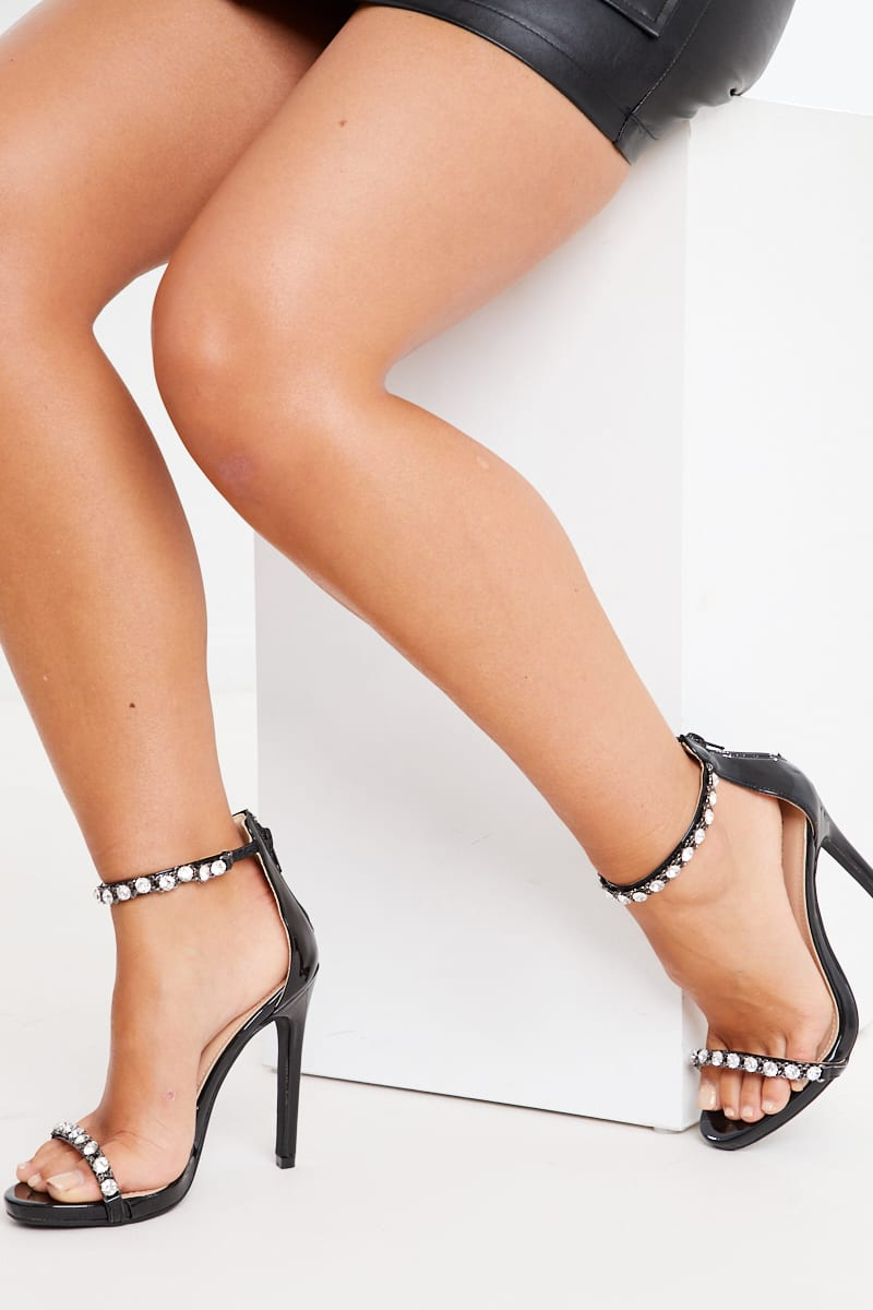 BLACK DIAMANTE ANKLE DETAIL HIGH HEELS