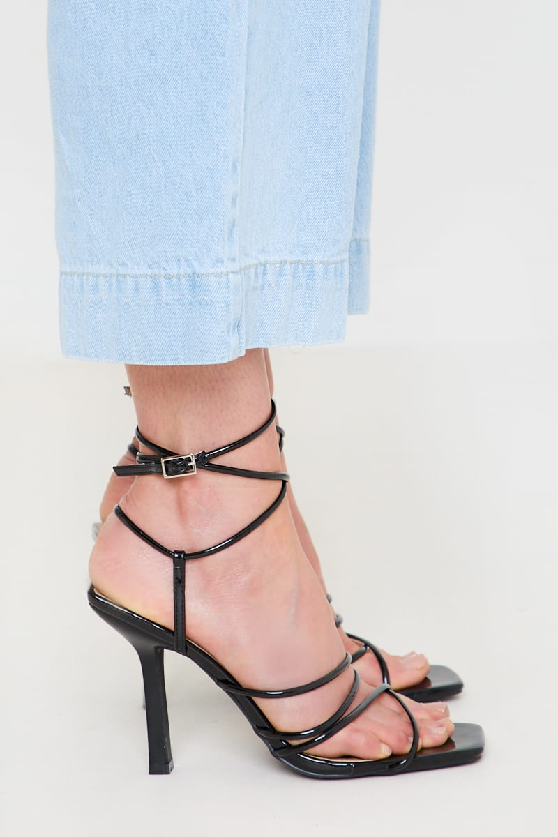 BLACK SQUARE TIE UP HEELS | In The Style (UK)
