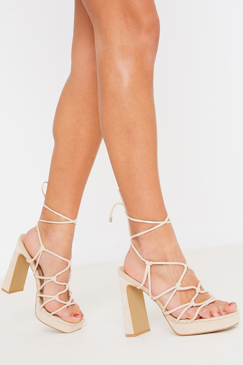 Cream Lace Up Platform Block Heels | In