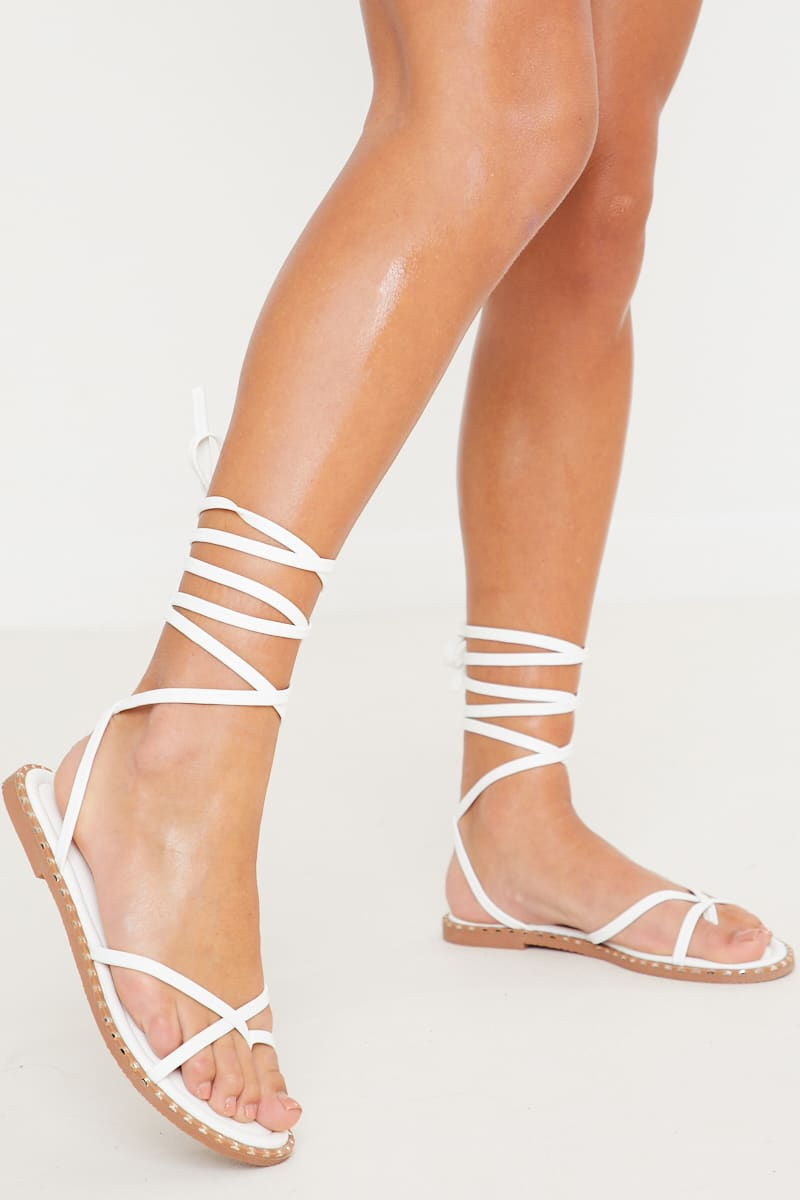 White Multi Strap Tie Up Sandals | In
