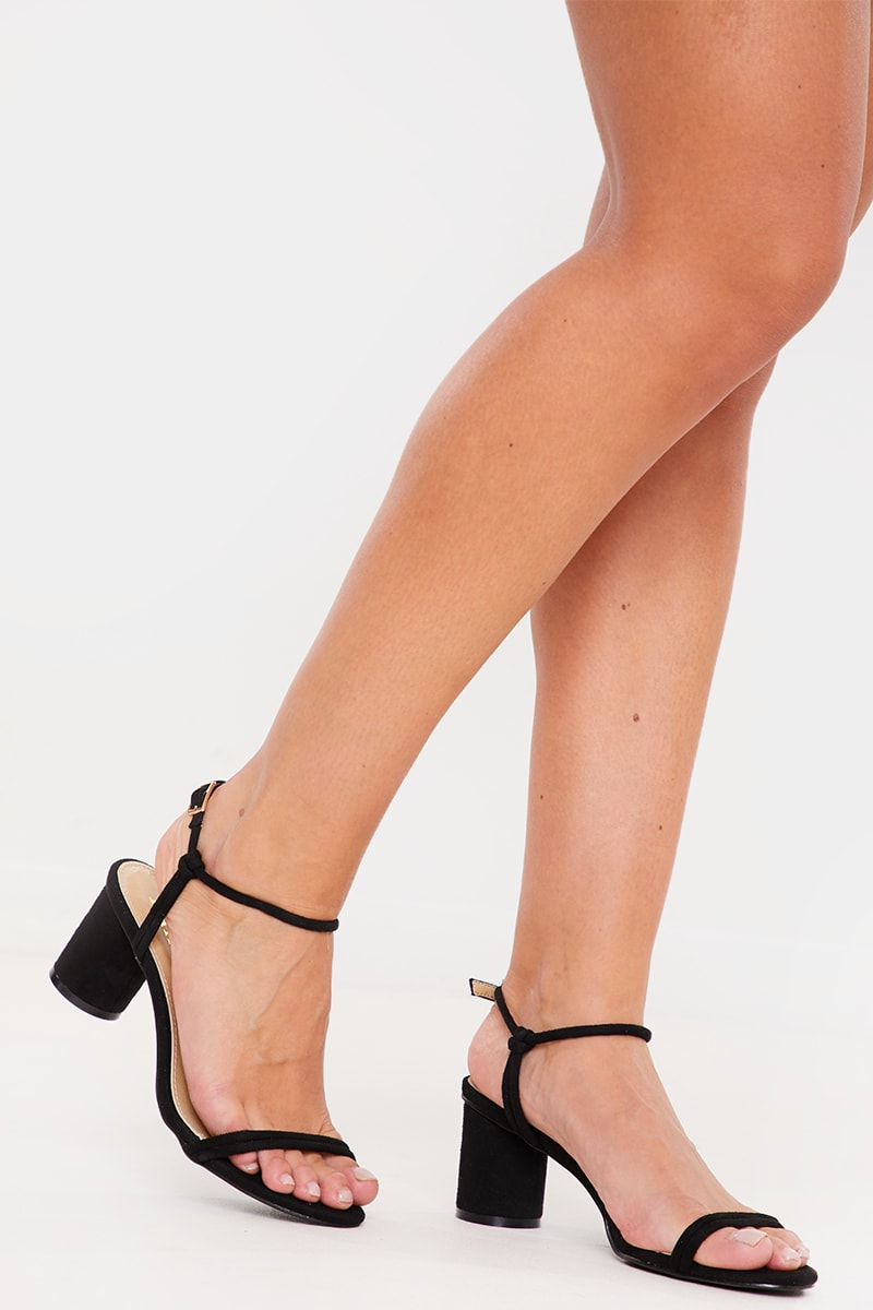BLACK CIRCULAR MID HEEL SANDALS