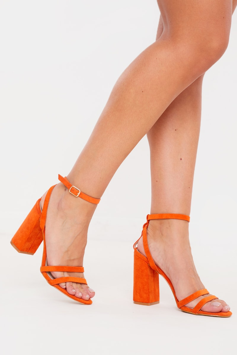 ORANGE CUT OUT STRAP HEELS