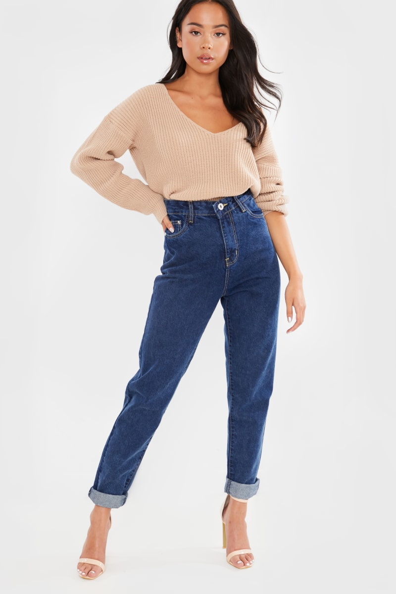BLUE DARK WASH DENIM 5 POCKET MOM JEANS