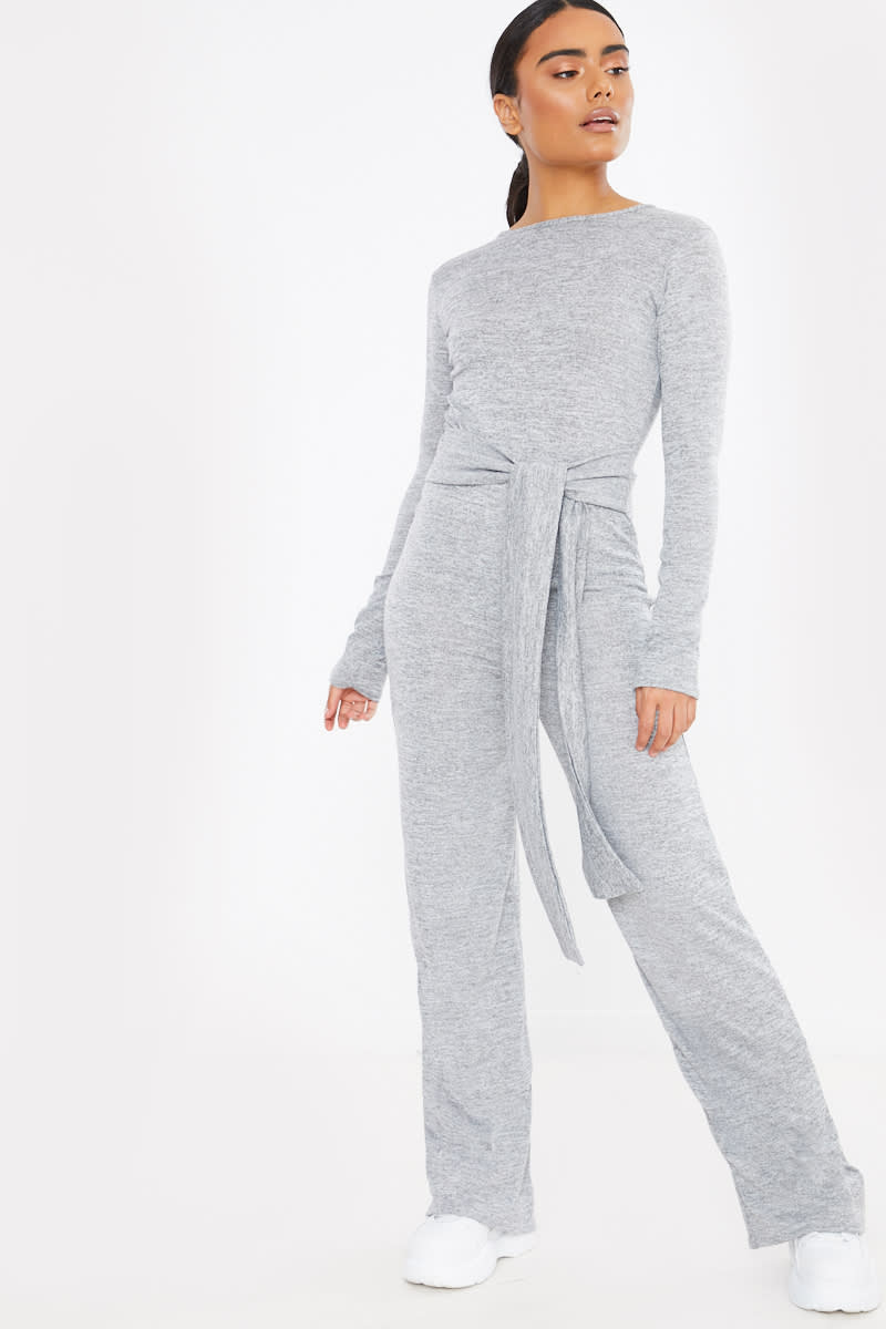 grey tie waist long sleeve knit jumpsuit
