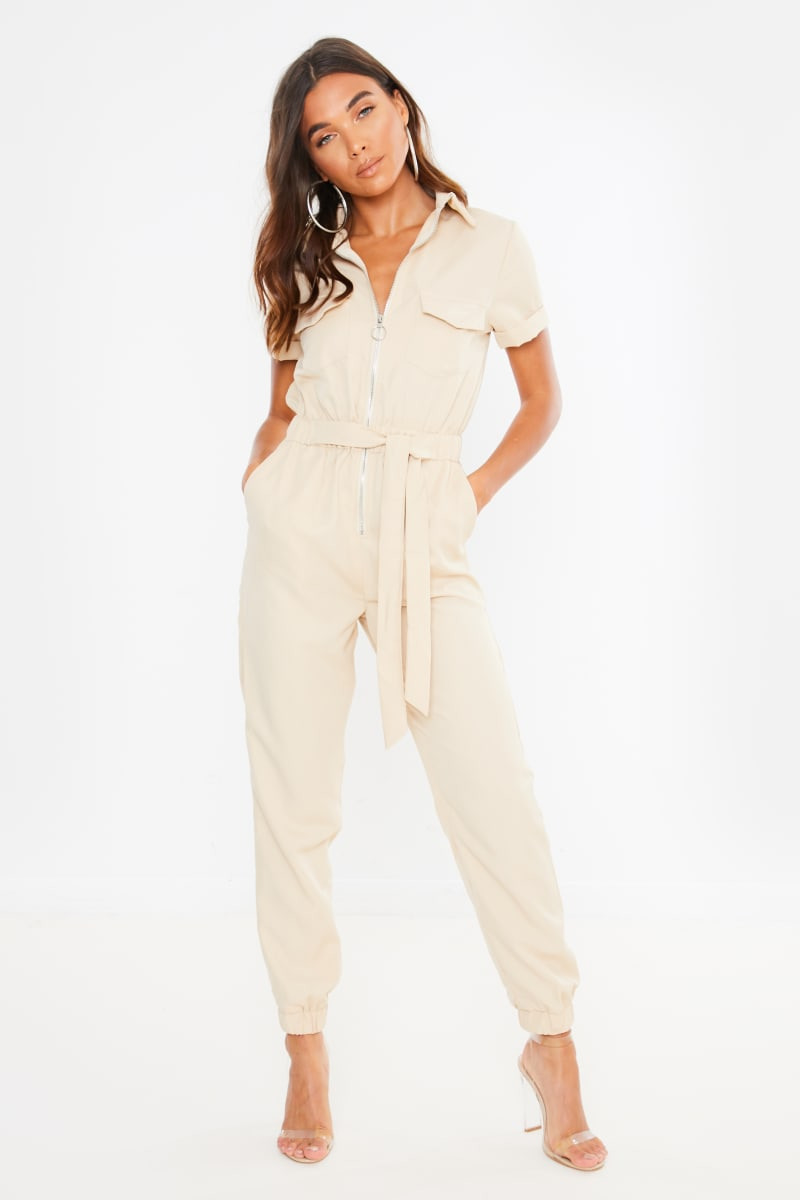 beige zip front belted utility jumpsuit