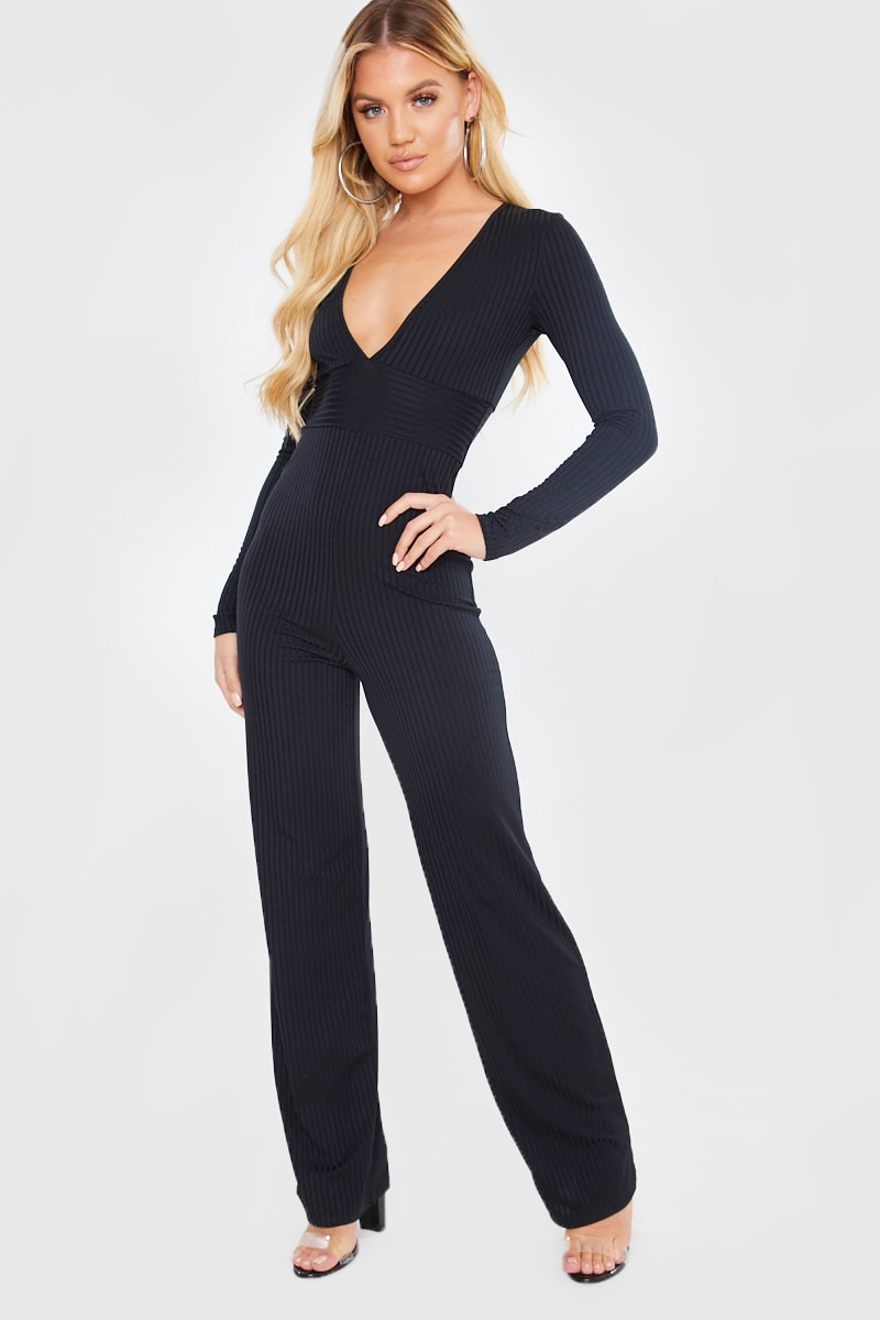 BLACK RIBBED PLUNGE JUMPSUIT
