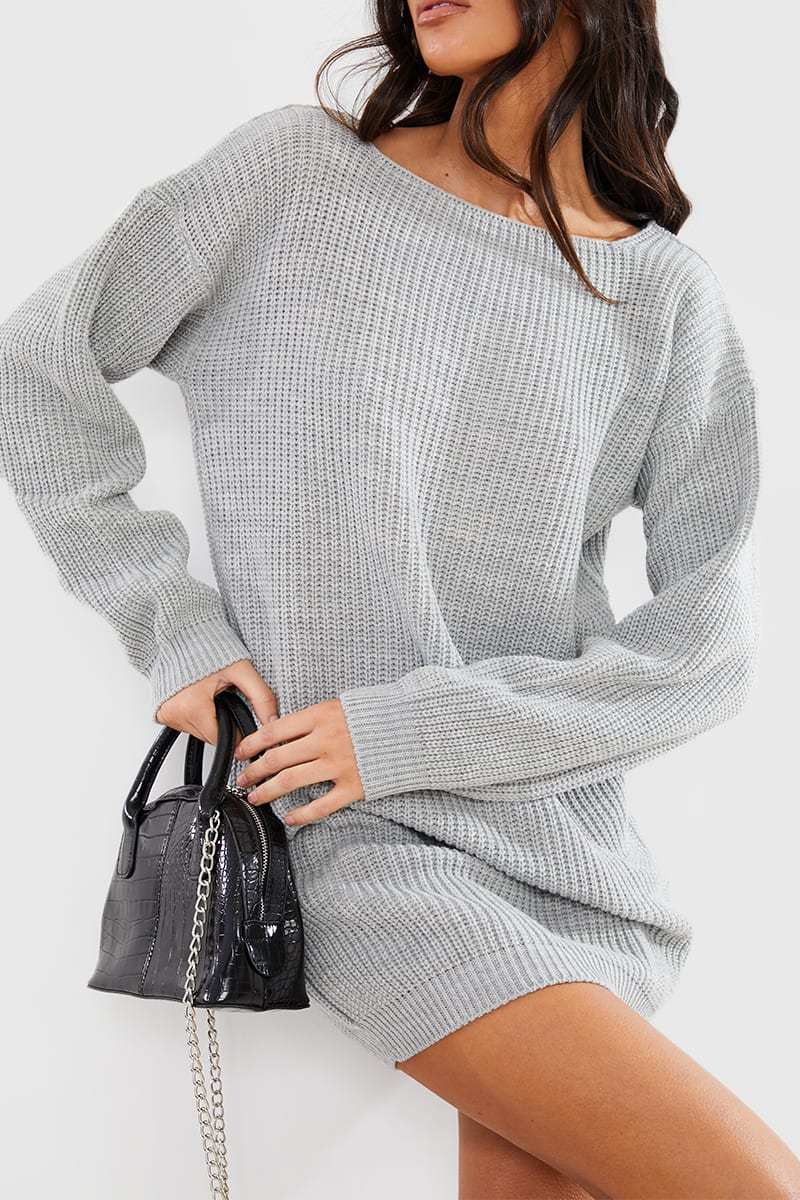 GREY MARL V BACK MINI DRESS