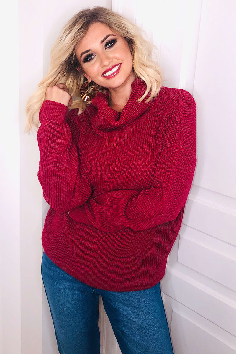 RASPBERRY ROLL NECK SLOUCHY JUMPER