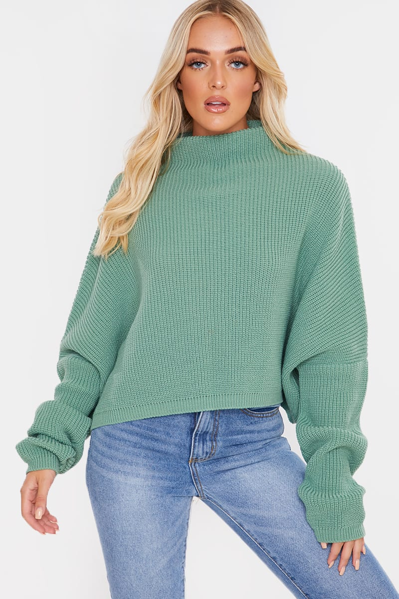 LIGHT GREEN GROWN ON NECK SLOUCH BATWING JUMPER