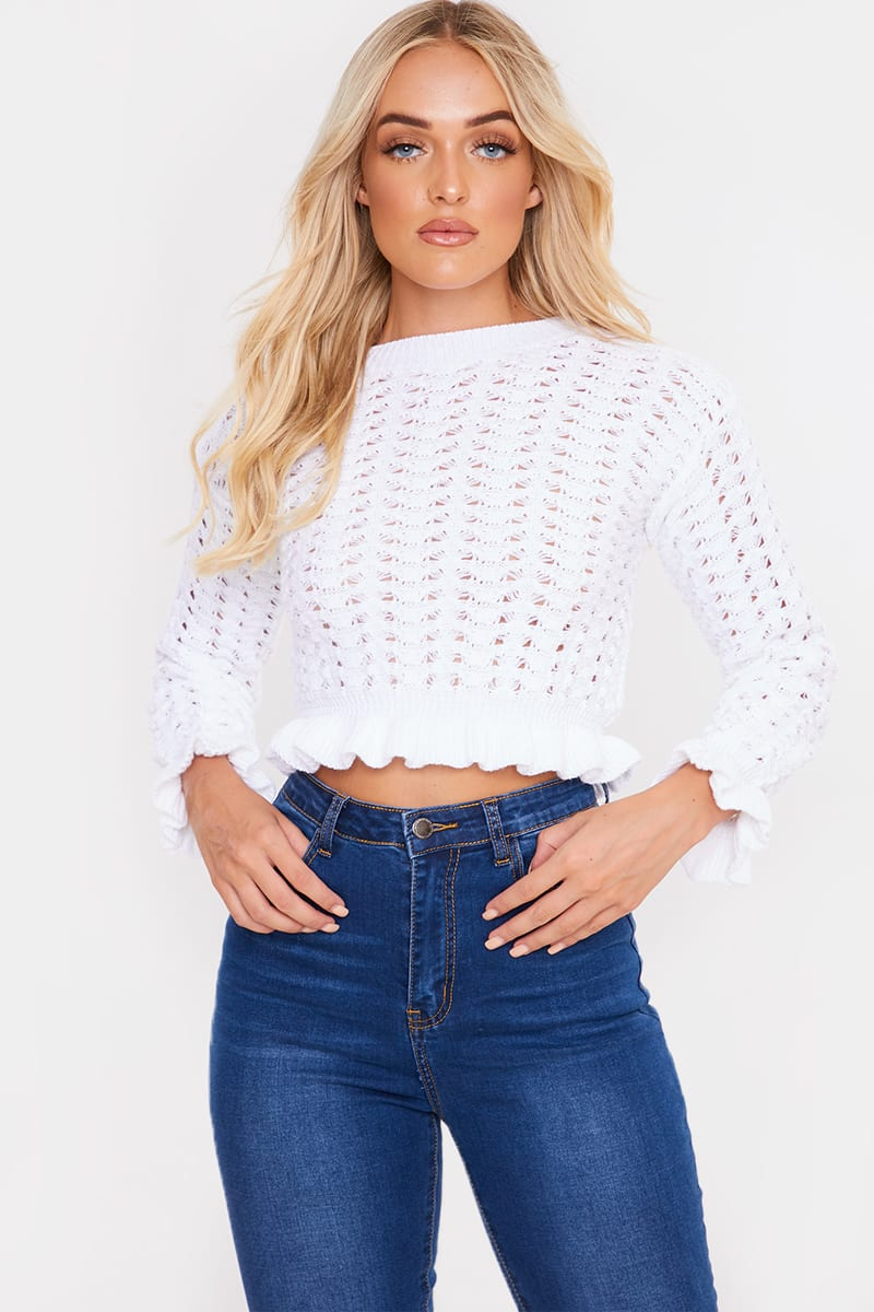 WHITE KNITTED CROPPED JUMPER