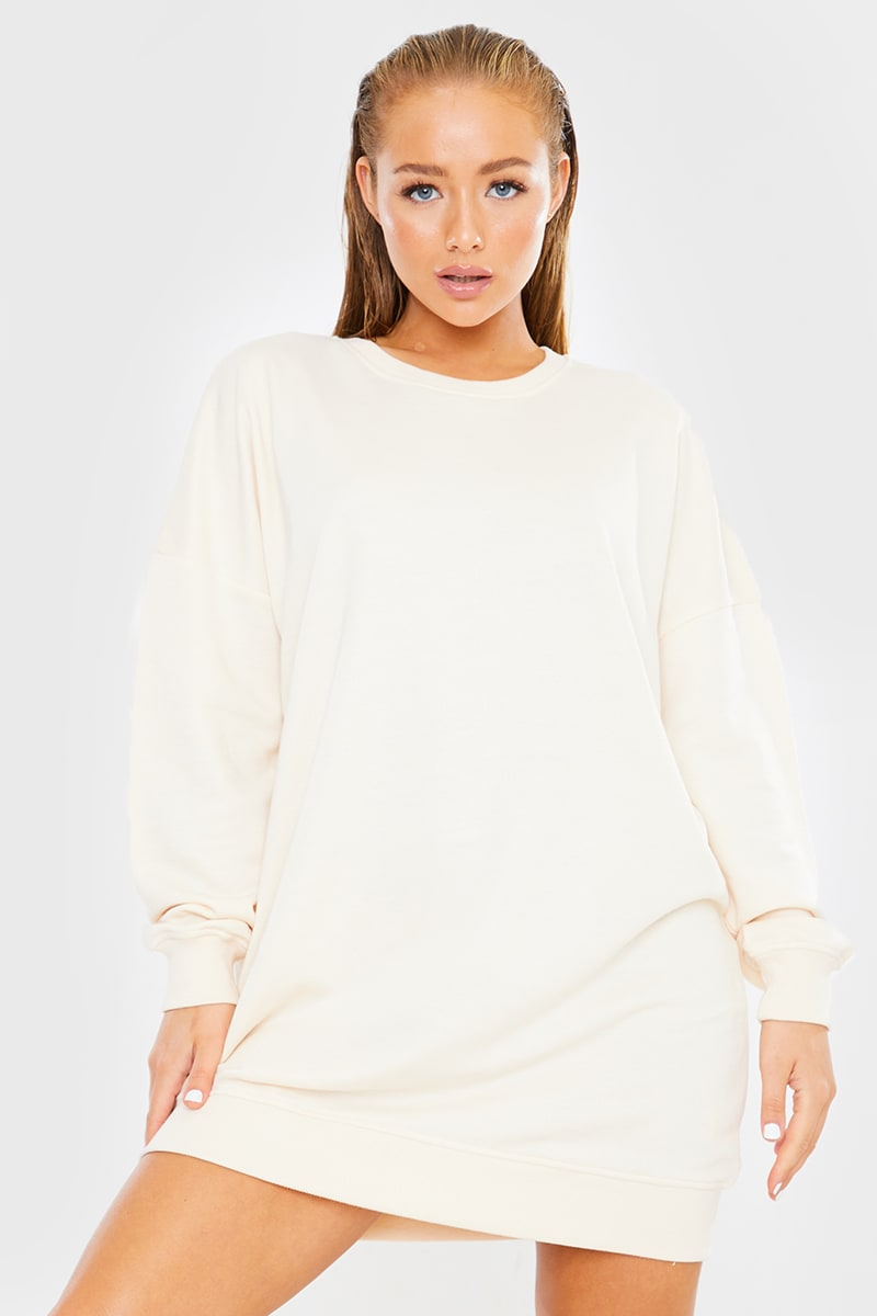 ECRU OVERSIZED SWEATER DRESS