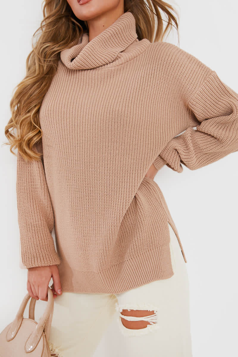 STONE ROLL NECK SLOUCHY JUMPER