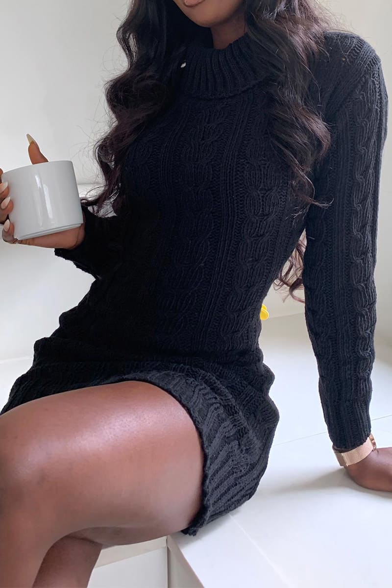 BLACK ROLL NECK CABLE KNITTED DRESS
