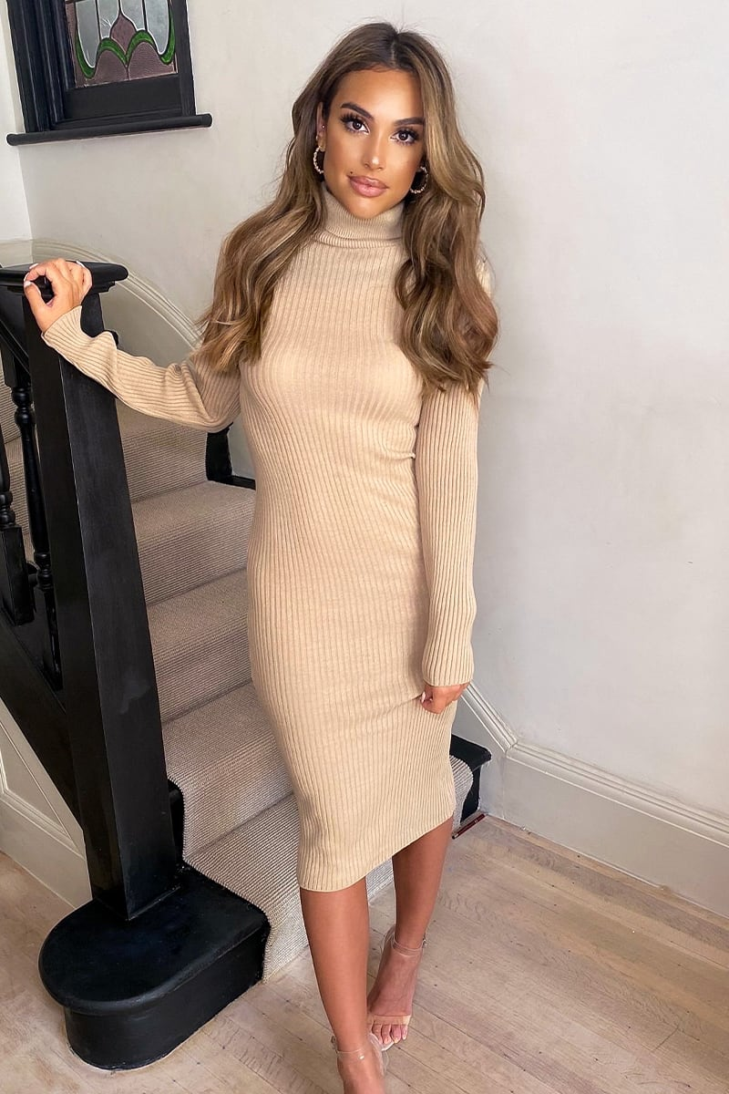 CAMEL ROLL NECK MIDI KNITTED DRESS