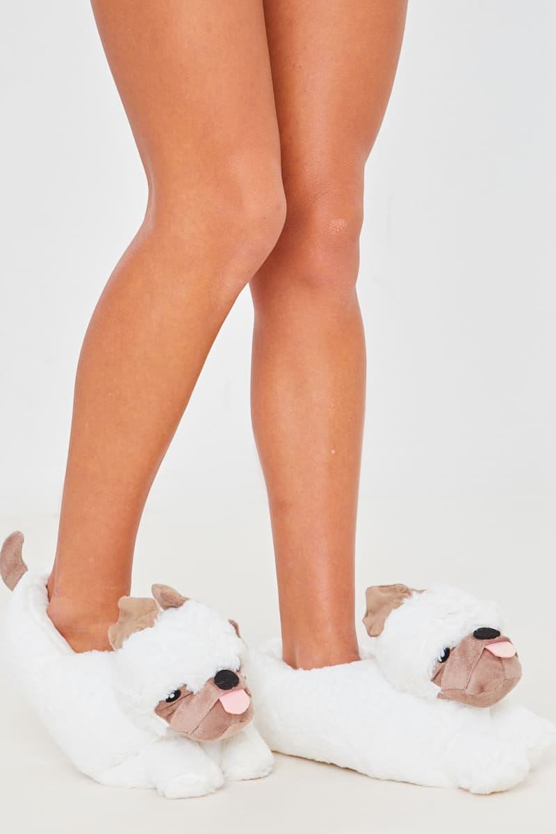 BROWN FLUFFY PUG 3D SLIPPERS