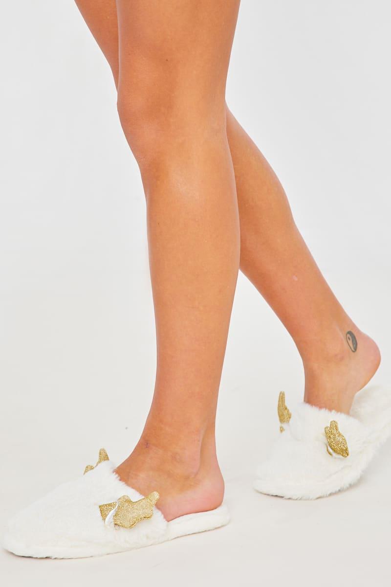 WHITE REINDEER SPARKLE ANTLER FLUFFY SLIPPERS