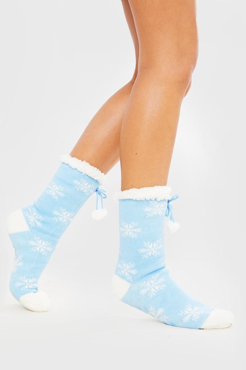 BLUE SNOWFLAKE SHERPA POM POM FLUFFY SLIPPER SOCKS