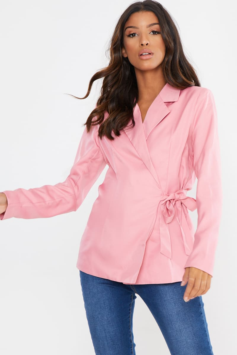 ROSE PINK TAILORED TIE SIDE BLAZER