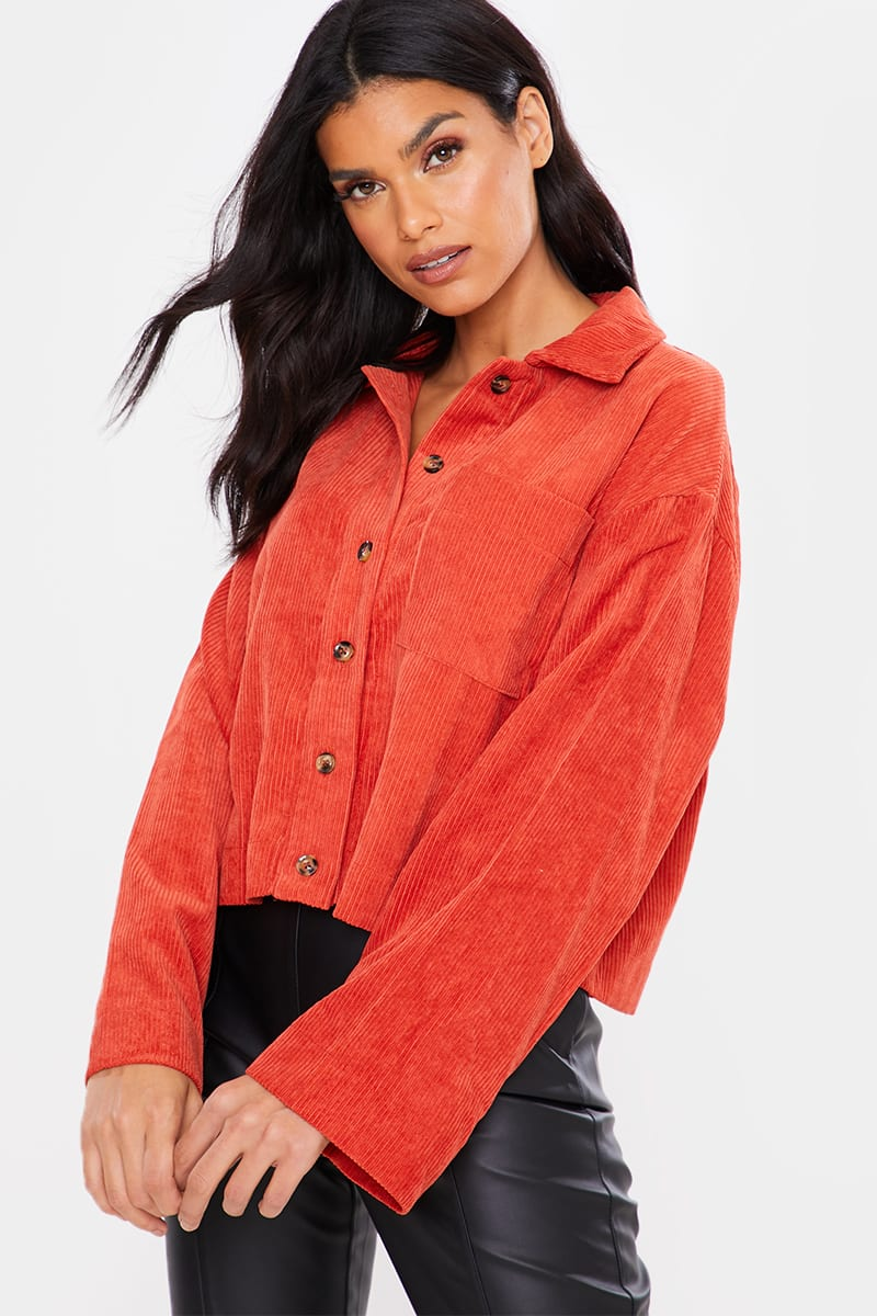 RUST CORD CROPPED SHIRT JACKET