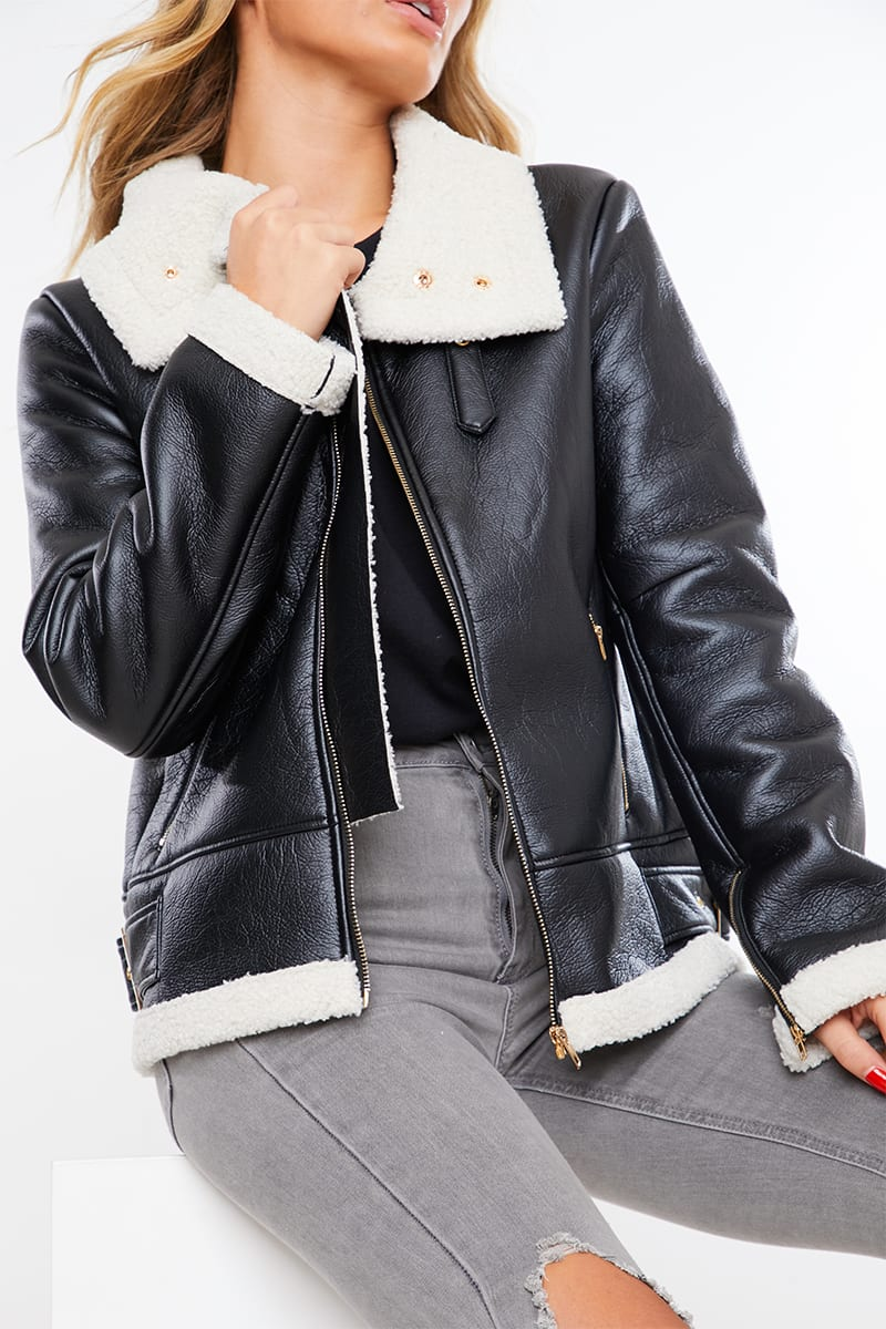 BLACK BORG LINED FAUX LEATHER AVIATOR JACKET