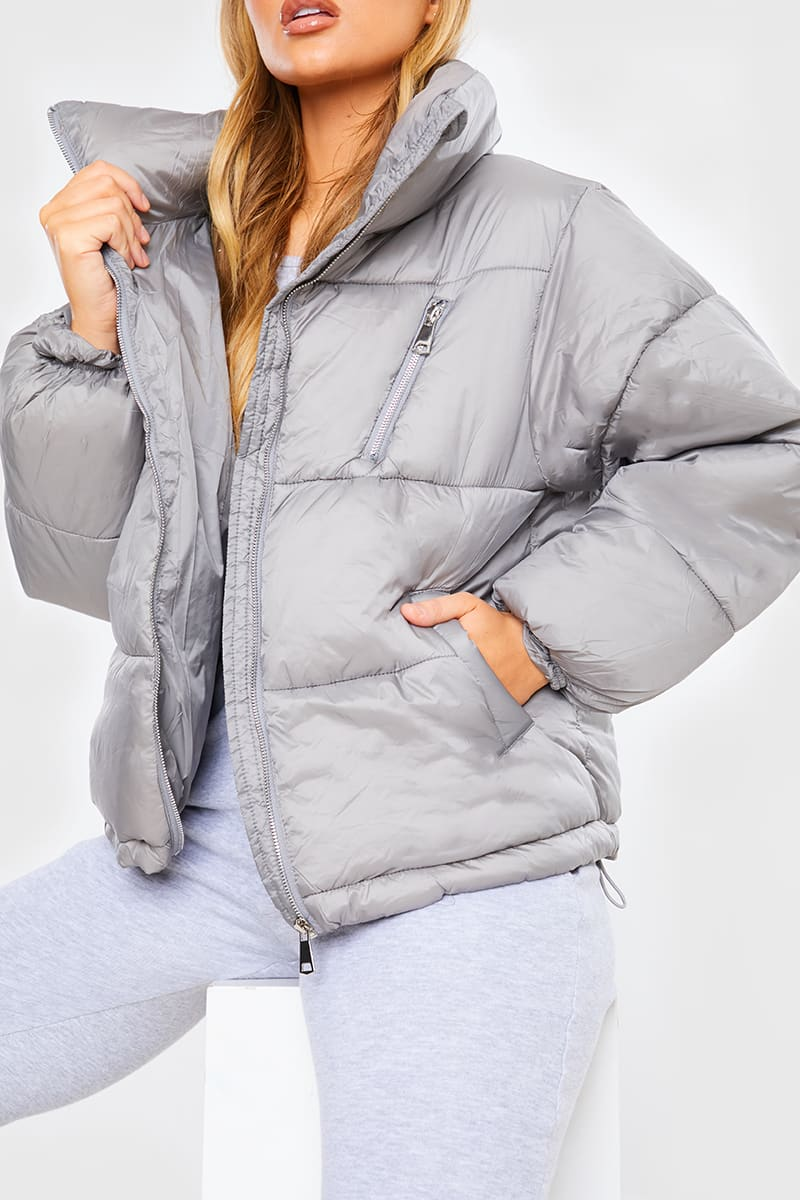 GREY ZIP CHEST SHORT PUFFA JACKET