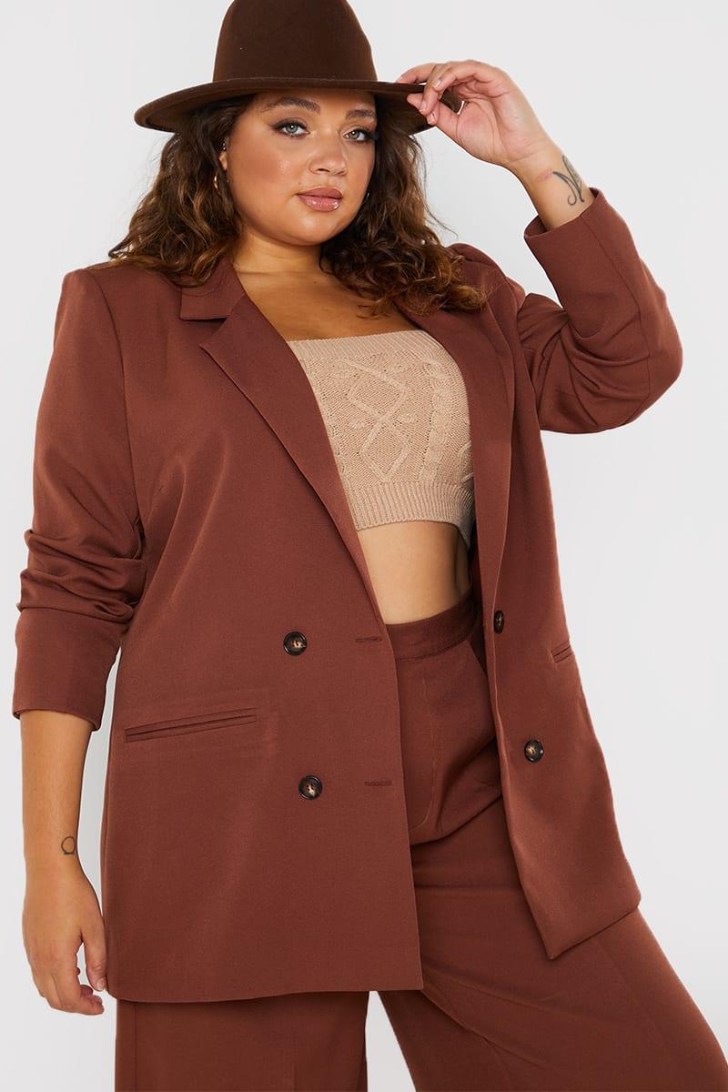 CURVE PERRIE SIANS BROWN OVERSIZED BLAZER