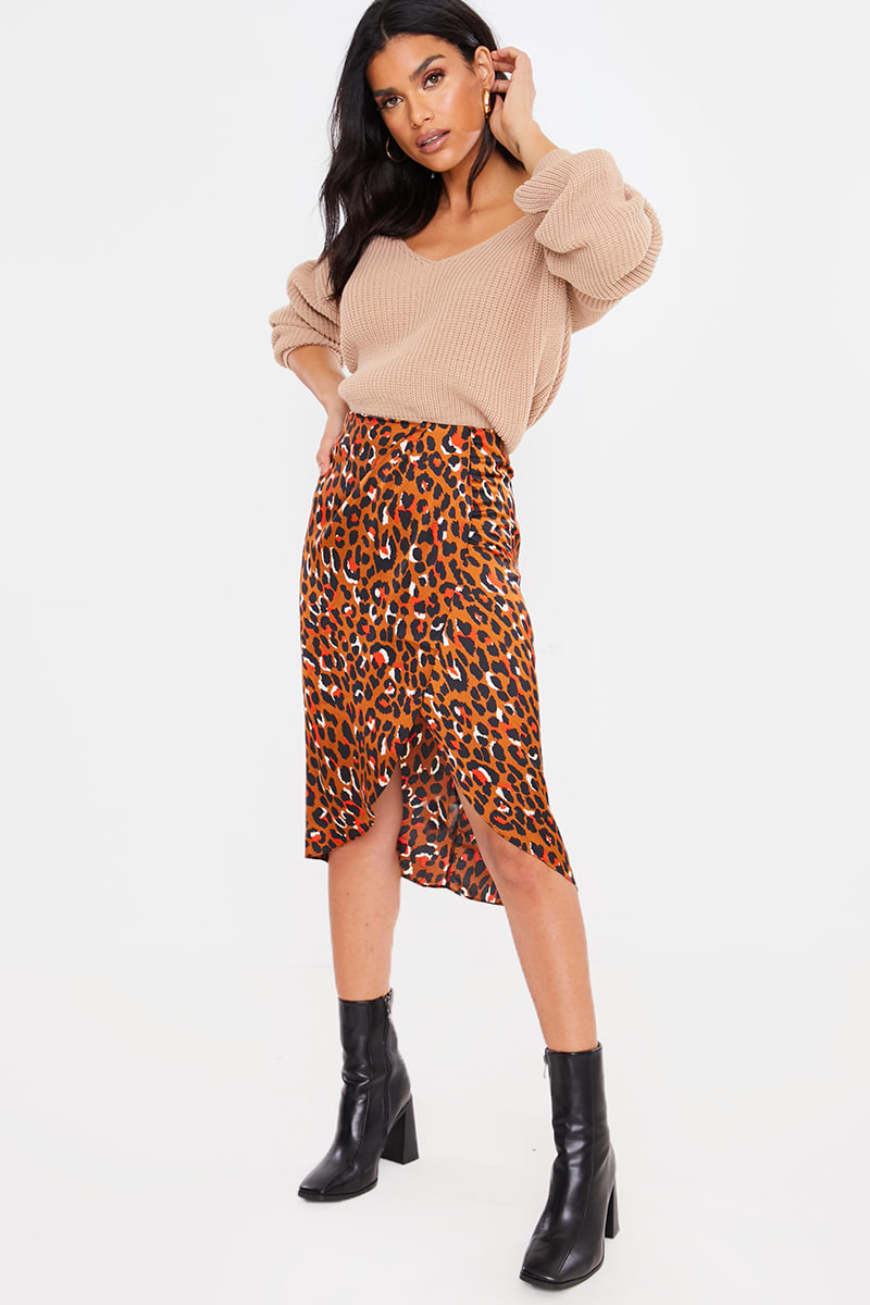 BROWN LEOPARD SATIN DRAPE WRAP SKIRT