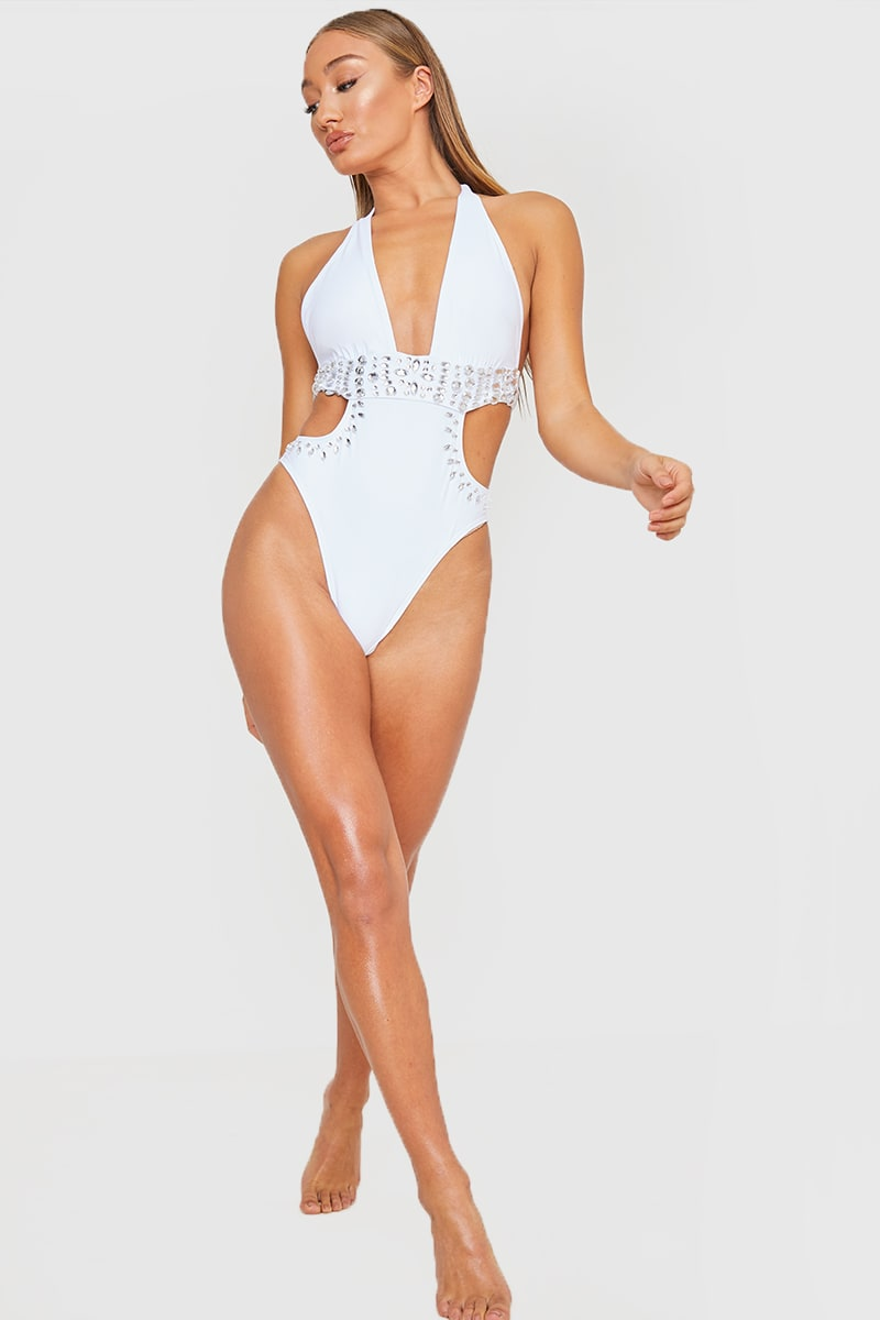 WHITE PLUNGE JEWELLED CENTRE SWIMSUIT