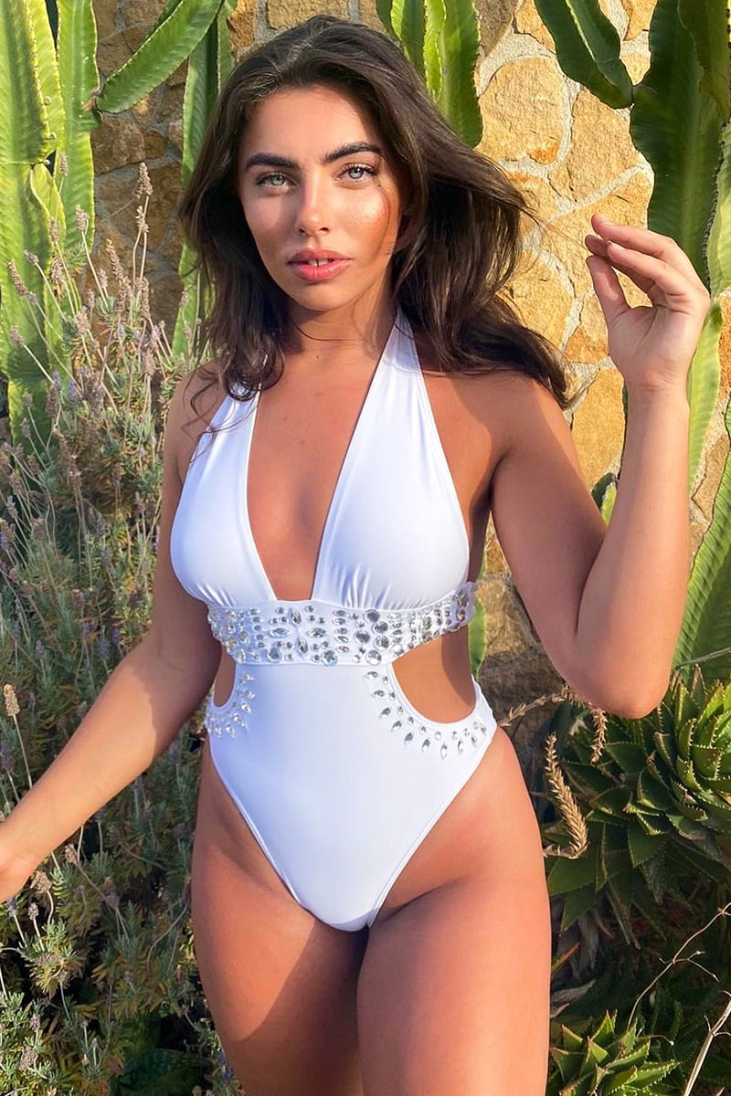 White Plunge Jewelled Centre Swimsuit | In The Style