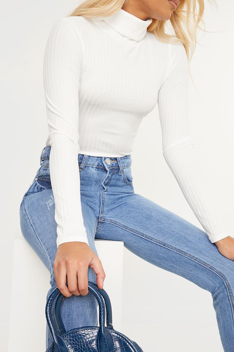 BASIC WHITE RIBBED HIGH NECK TOP