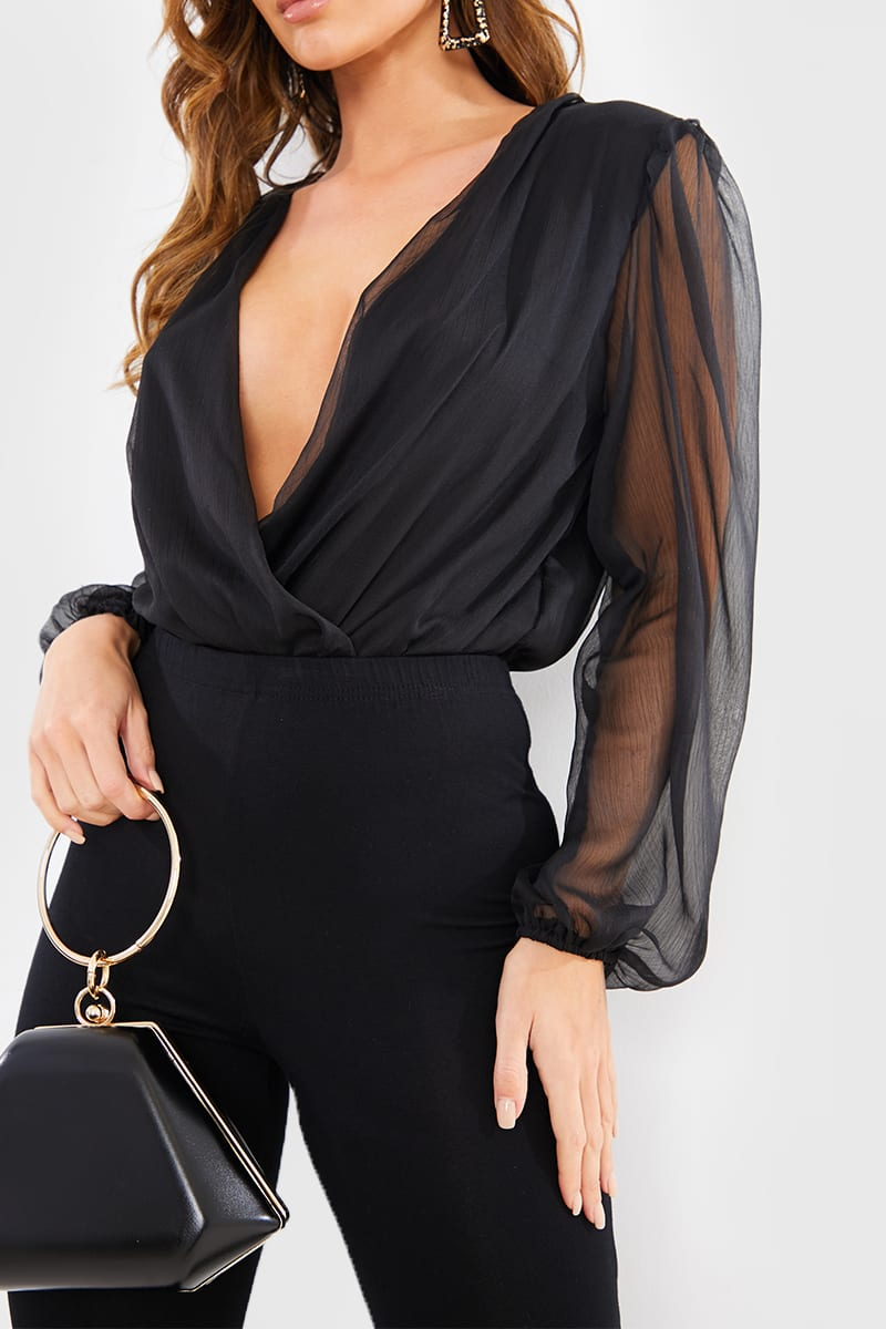 BLACK SHEER LONG PUFF SLEEVE BODYSUIT