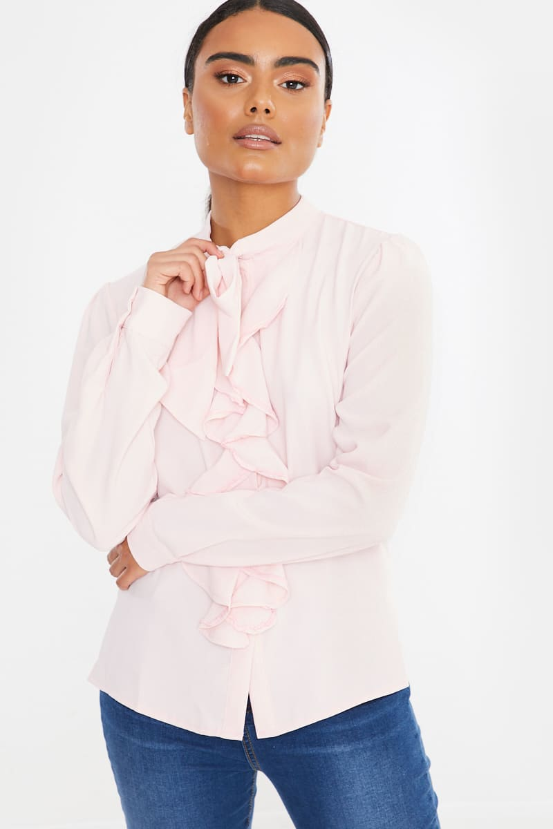 pink ruffle detail bow long sleeve blouse