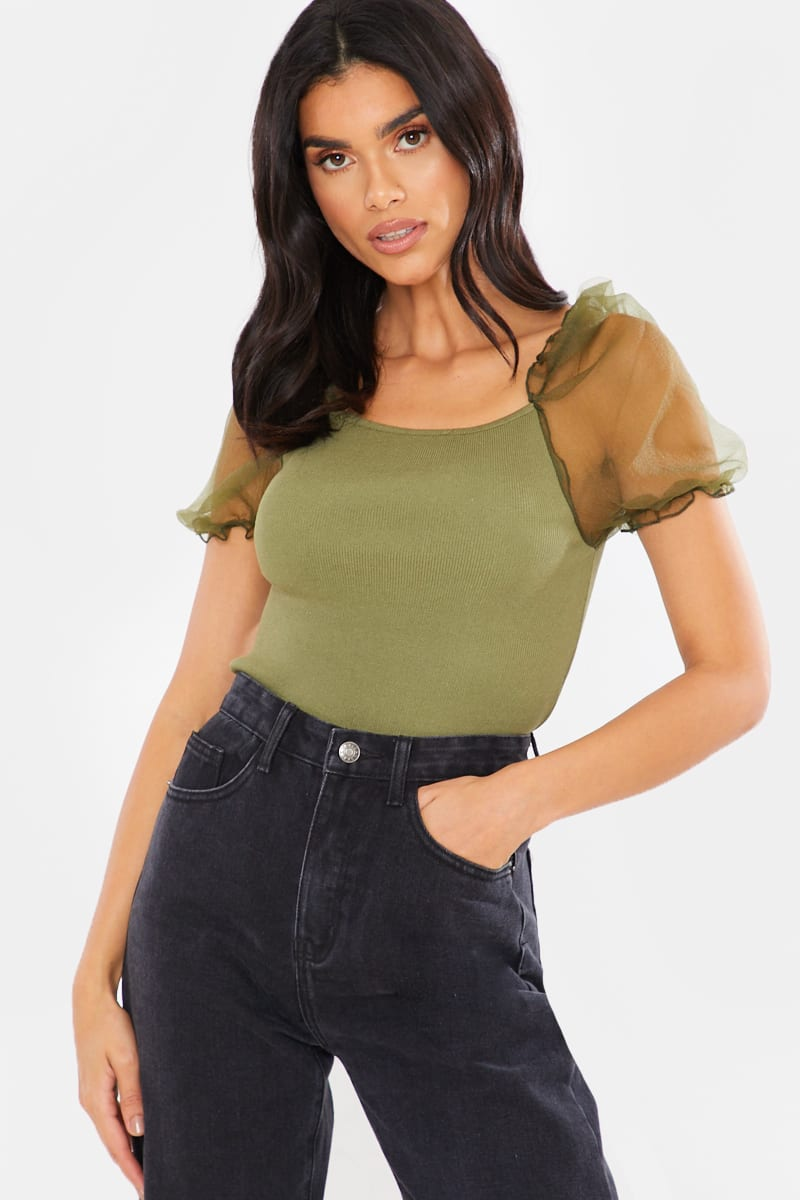 GREEN RIBBED KNIT ORGANZA PUFF SLEEVE CROP TOP