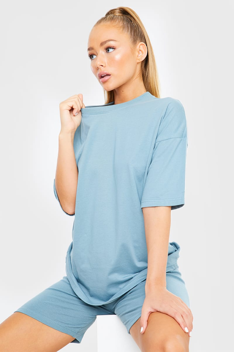 BLUE OVERSIZED SLOUCHY T SHIRT