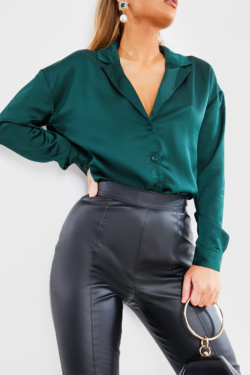 JADE GREEN SATIN BUTTON DOWN SHIRT
