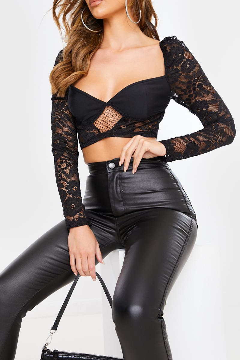 BLACK LACE MILKMAID LONG SLEEVE CROP TOP