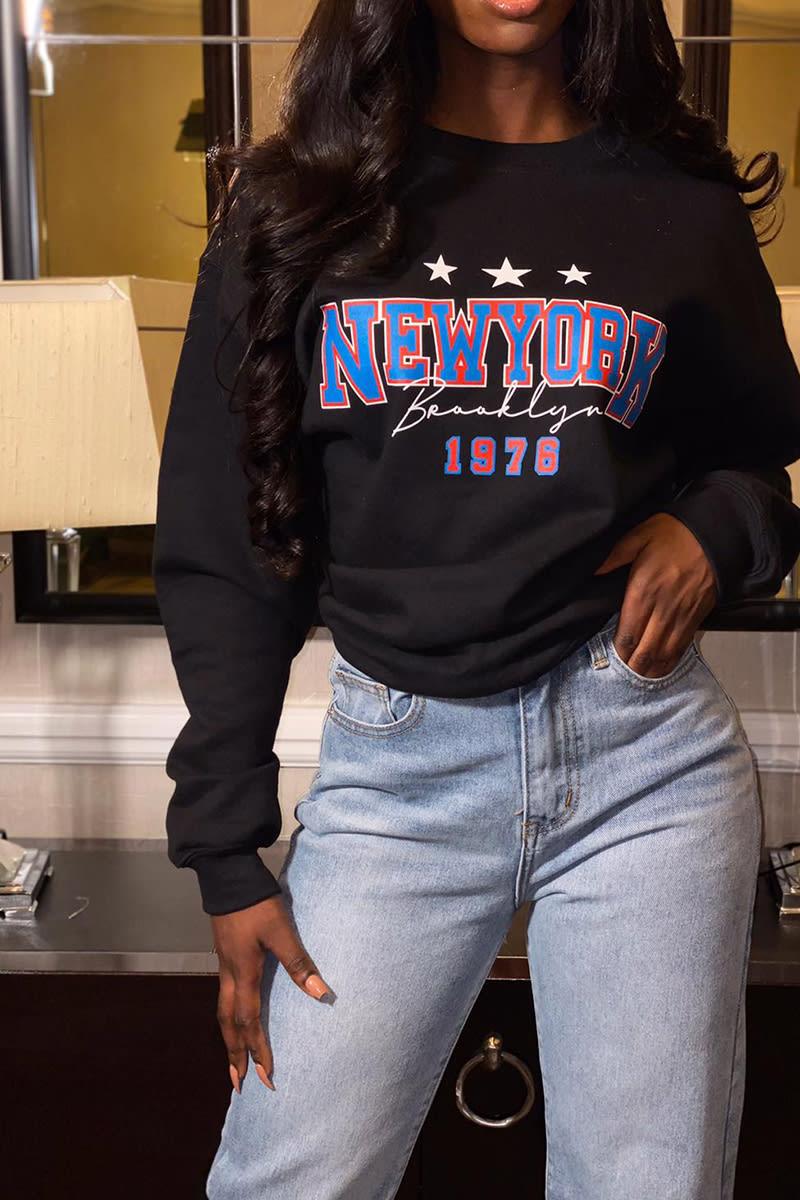 BLACK NEWYORK 1976 SLOGAN OVERSIZED SWEATER